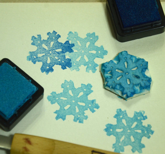 Snowflake: Handmade Unmounted Rubber stamp