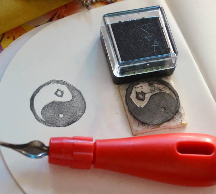 Yin Yang Symbol-  Handmade Unmounted Rubber stamp