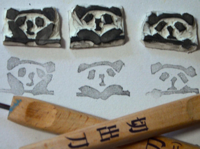 3 Resting Pandas- Handmade Unmounted Rubber stamps