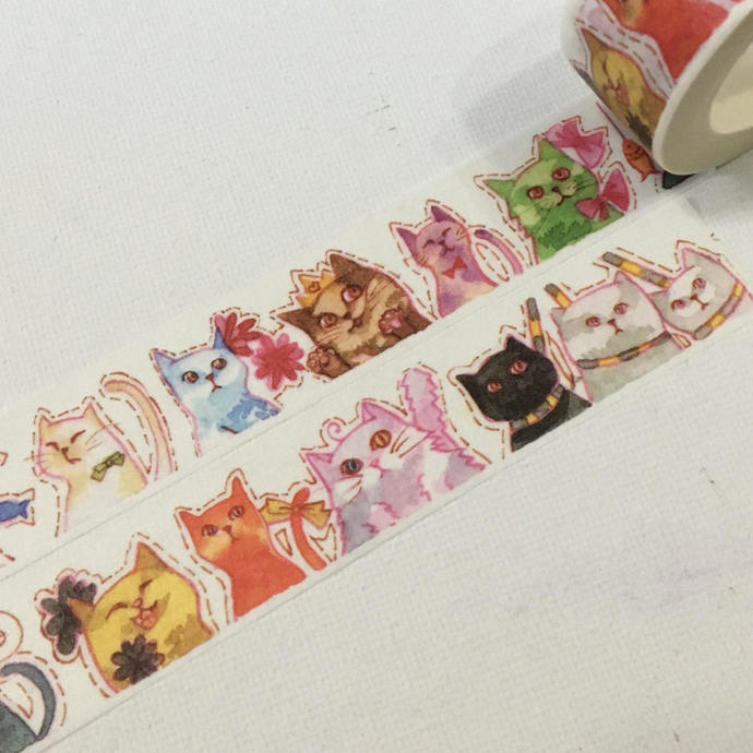 1 Roll of Limited Edition Washi Tape: Funny Cute Meow Kittens