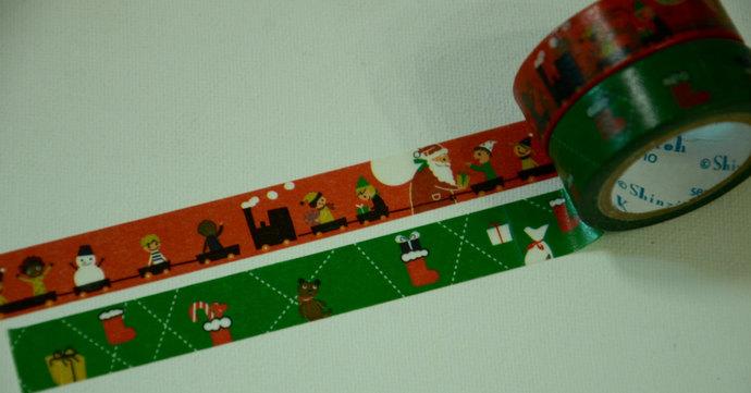 2 Rolls of Japanese Shinzi Katoh Design Washi Masking Paper Tape- Christmas and