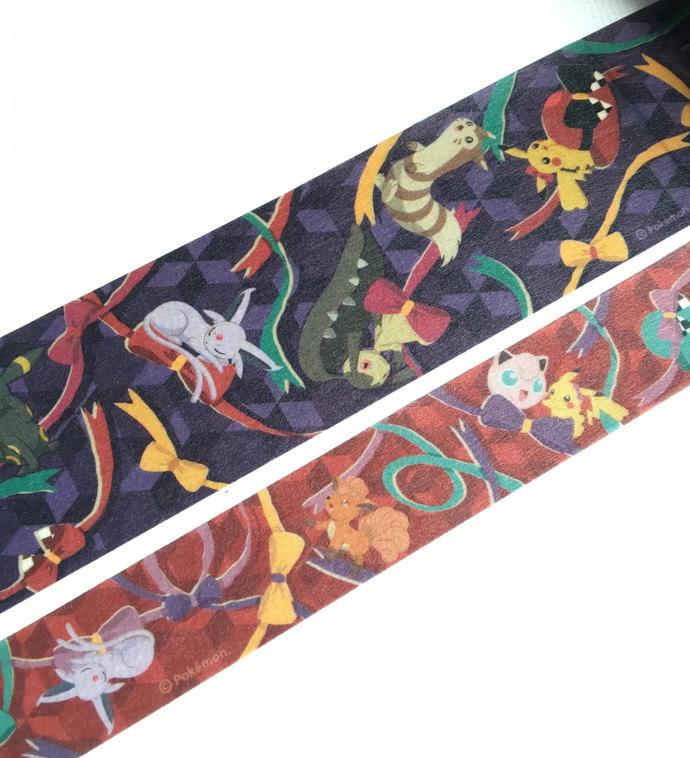 2 Rolls of Limited Edition Washi Tape- Pokemonster, Pikachu, and Ribbon