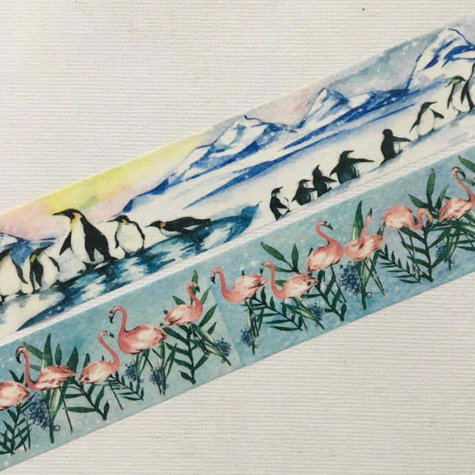 1 Roll Limited Edition Washi Tape (Pick 1): Antarctica Penguins or Flamingo