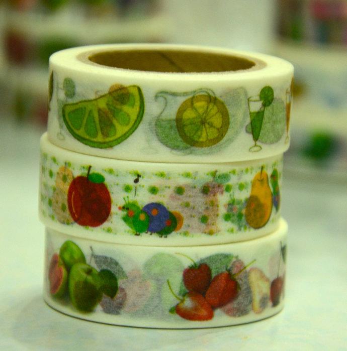 3 Rolls of Japanese Washi Masking Tape - Fruits