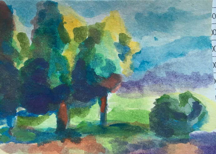 Original ACEO Watercolor Painting: Three Trees make a Forrest
