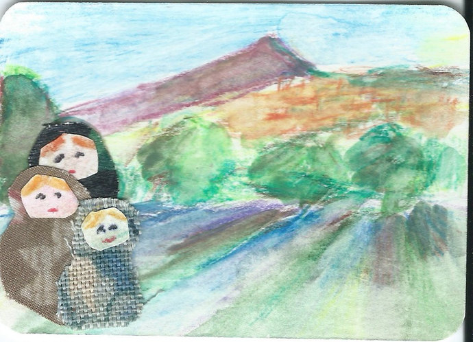 Original ACEO Painting Collage - Family Trip to the Countryside