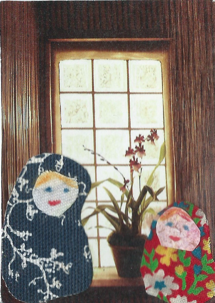 Original ACEO Collage - Mother and Child in front of the Window