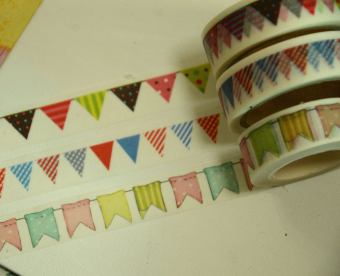 3 Rolls of Japanese Washi Tape Roll- Garlands Party