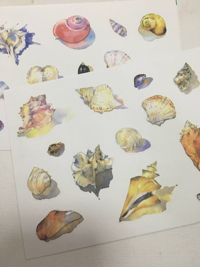 2 Sheets of Limited Edition Washi Paper Stickers- Sea Shells