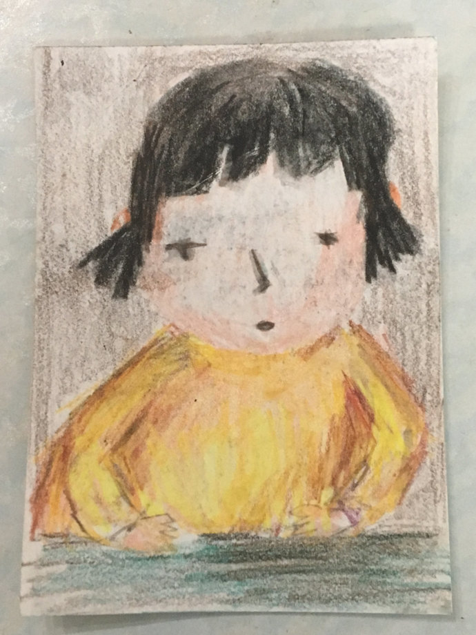 Original ACEO Watercolor Painting- Little Girl in Yellow Top