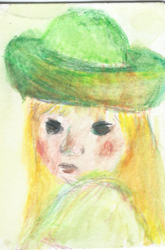 Original ACEO Watercolor Painting- Girl in Green Hat