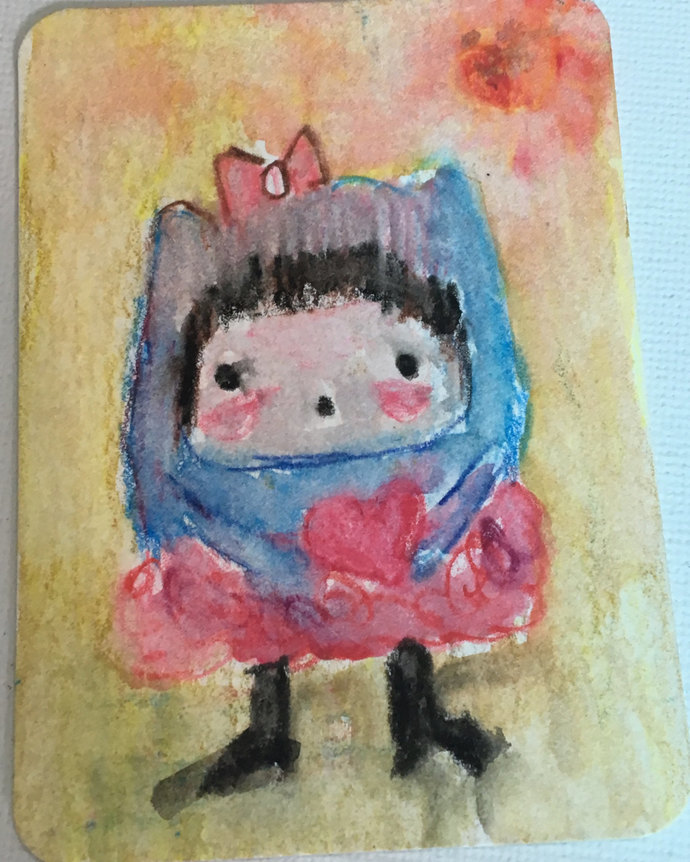 Original ACEO Watercolor Painting: Give You My Heart