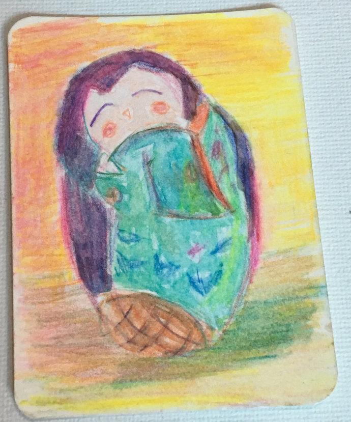 Original ACEO Watercolor and Ink Painting- Kokeshi Doll