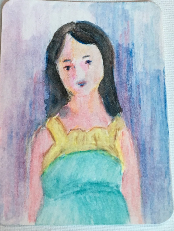 Original ACEO Watercolor Painting- Pregnant Lady