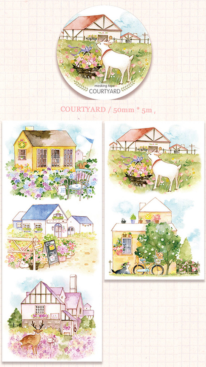 1 Roll of Limited Edition  Washi Tape- Courtyard