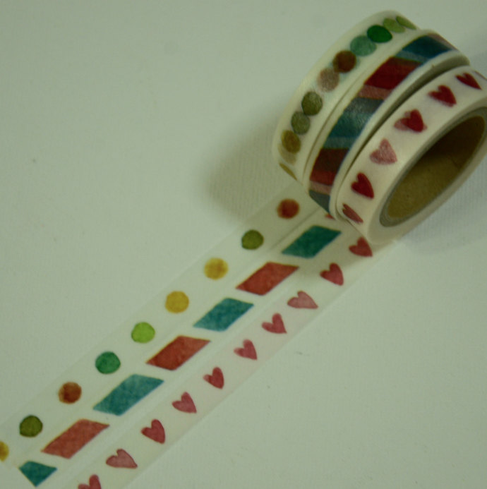 1 Roll of Japanese Washi Masking Paper Tape (Pick 1) -Dots, Red Blue Stripes, or