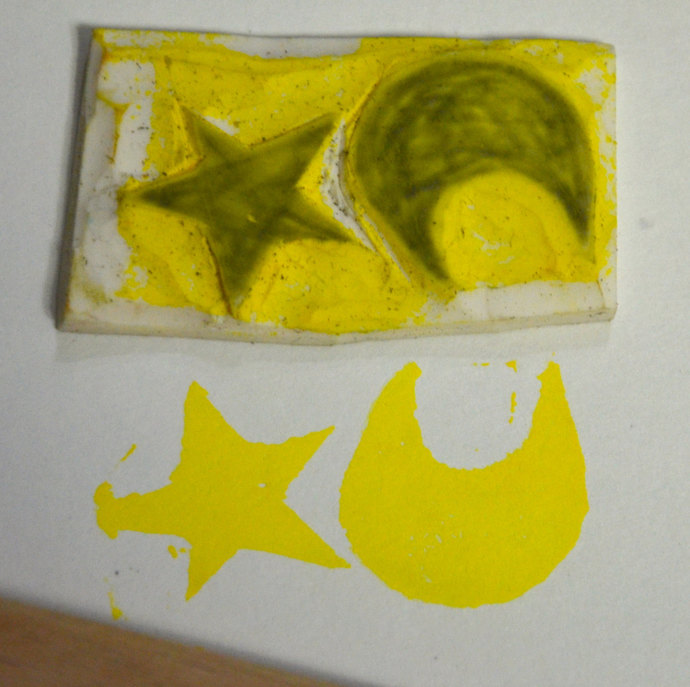 Moon And Star Handmade Unmounted Rubber By Inflatedegostudio On