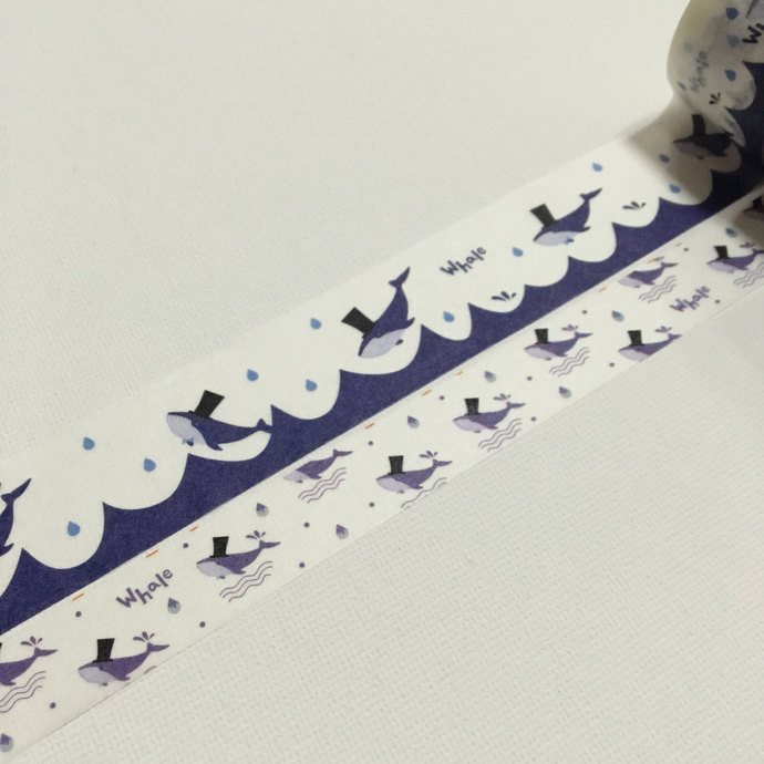 2 Rolls Japanese Washi Tape: Mr Whale in Top Hat
