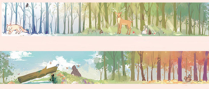 1 Roll of Limited Edition Washi Tape: Deer and animals in the Forrest
