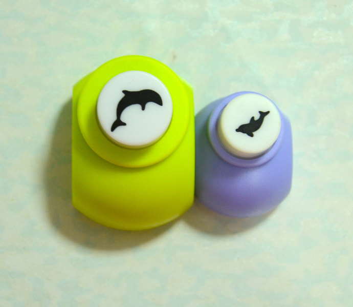 A Set of 2 Paper Punches- Mother Dolphin and Baby Dolphin