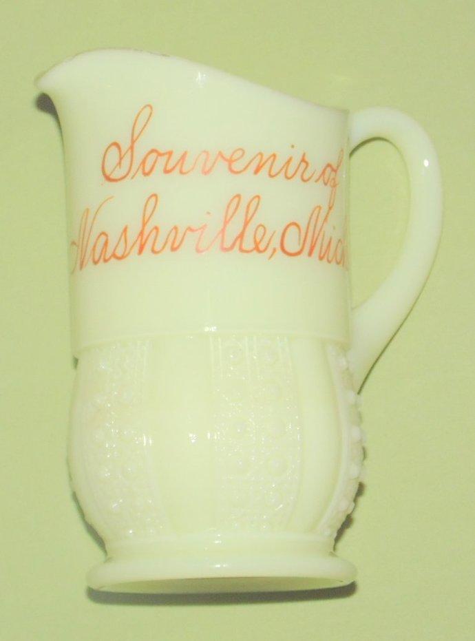 Vintage Heisey Custard Glass Creamer Souvenir Nashville Michigan Gold Rim Trim