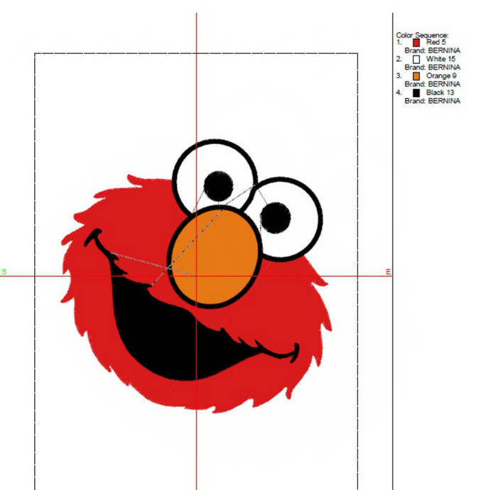 Elmo embroidery design face machine designs in the hoop pes files