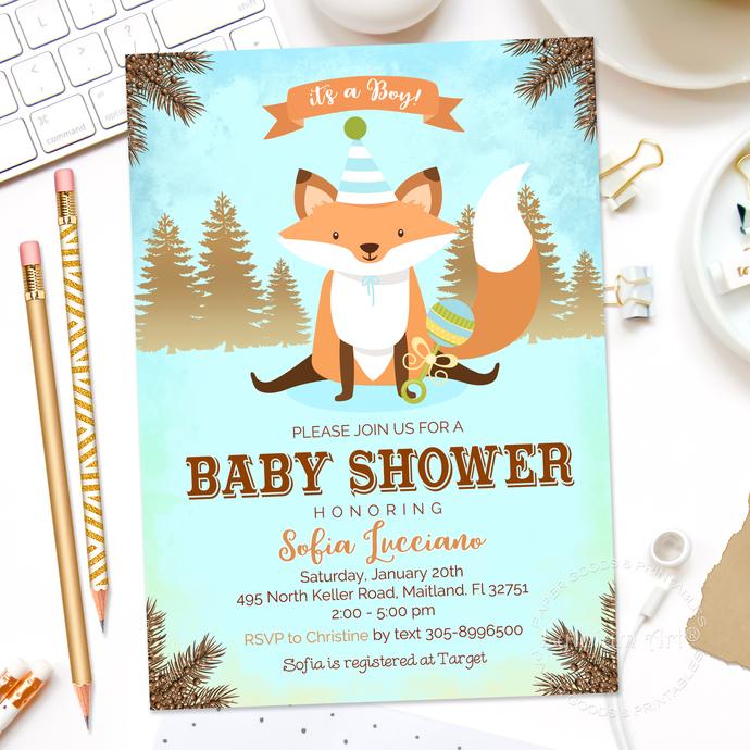 Fox Baby Shower Invitation, Fox Invitation, | Lythiumart
