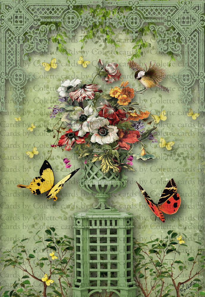 The Butterfly Garden Digital Collage Greeting Card5592