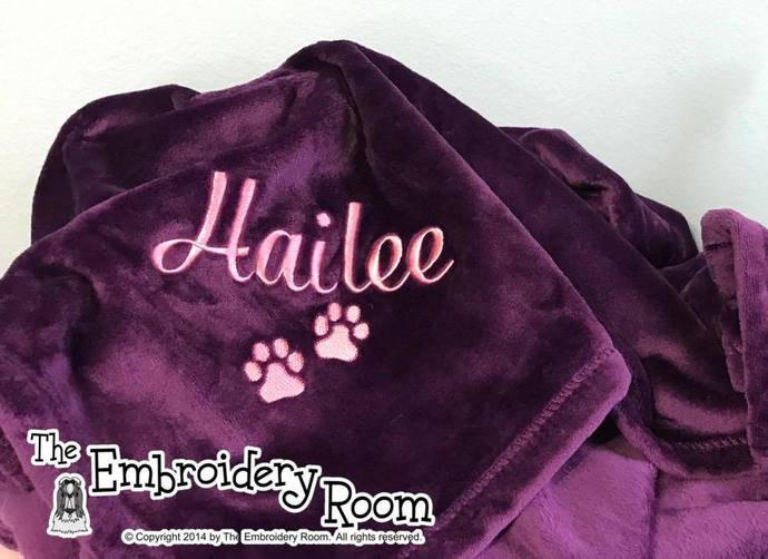 Paw Print Dog Blanket-Family Size-Personalized