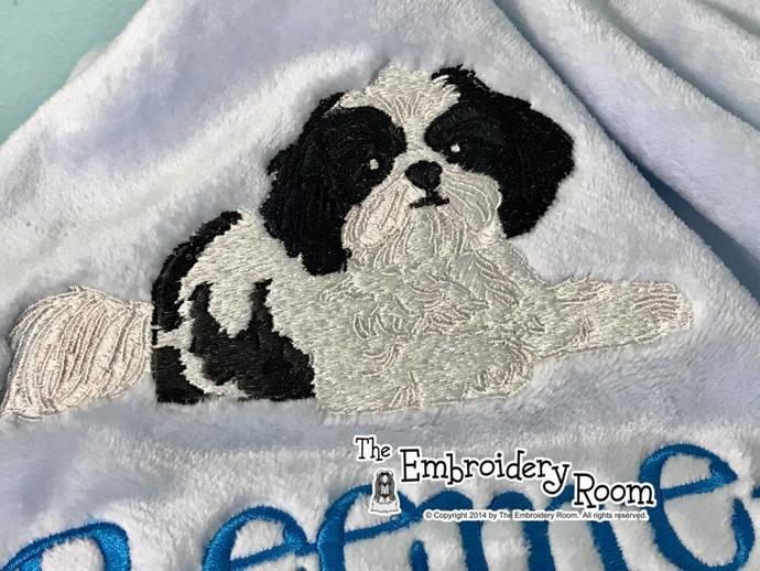 Shih Tzu Dog Blanket-Embroidered-Personalized