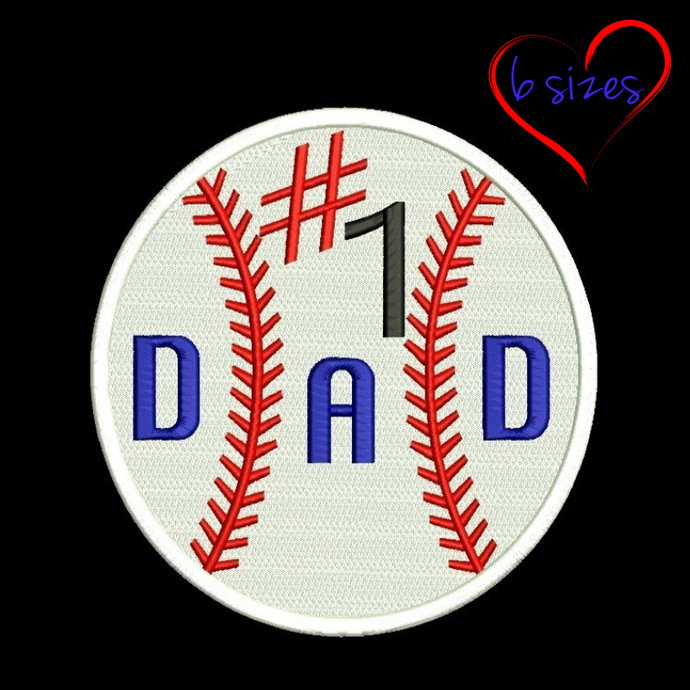 Baseball ball machine embroidery Design number 1 dad