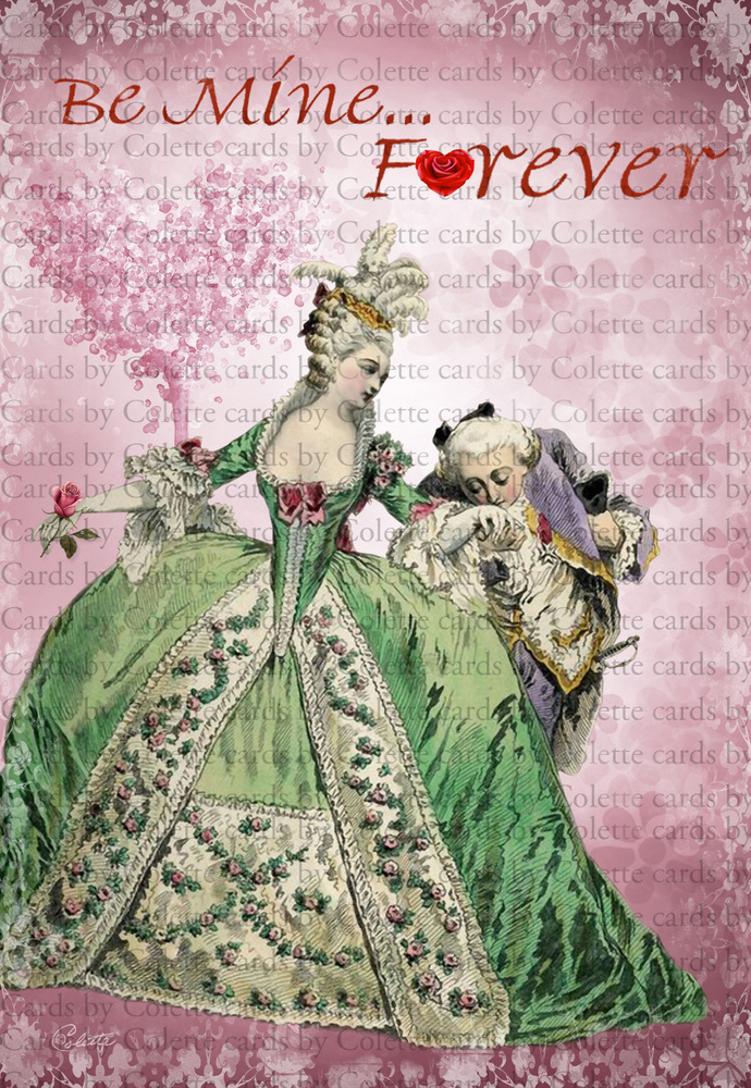 Valentine Marie Digital Collage Greeting Card908