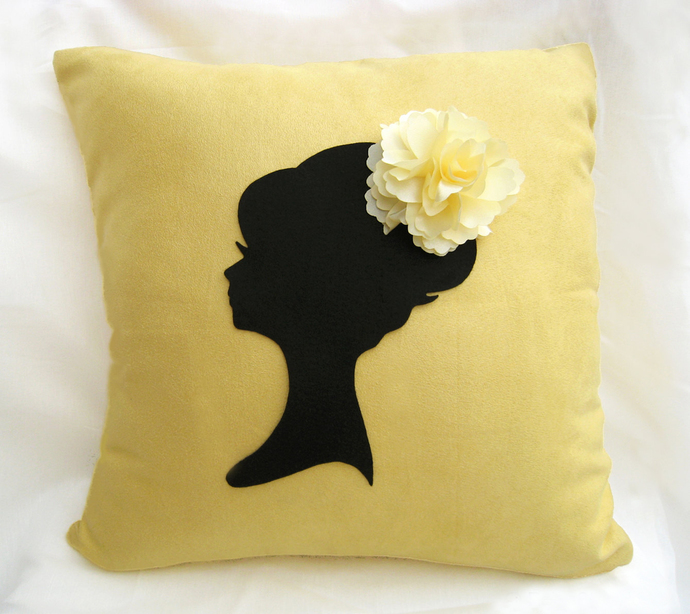 Shabby Chic Feminine Lady Portrait Floral Headpiece Yellow Decorative Pillow