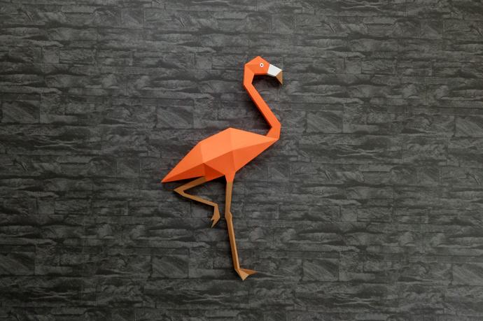 Diy Flamingo Wall Arthome Decorflamingo By Paperamaze On Zibbet
