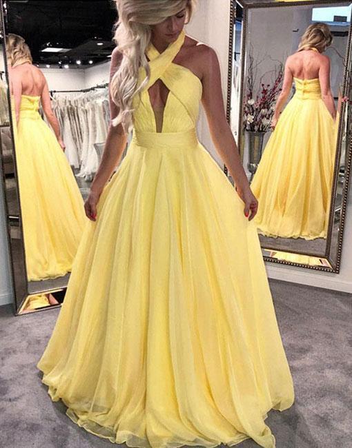 Unique Yellow Halter A-Line Chiffon Prom Dress,Yellow Prom Dress,122706