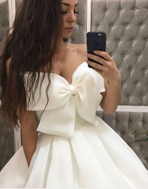 White Bow Evening Dress,Long White Prom Dress,Strapless Sweetheart Evening