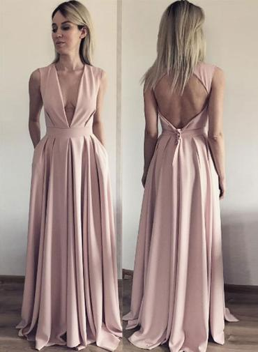 Sexy Deep V-Neck Pink Prom Dress,Open Back Pleated Evening Dress,122711
