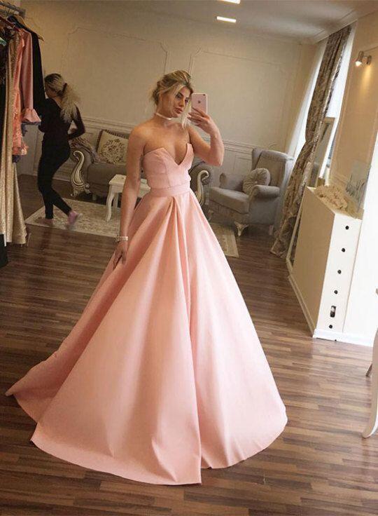 Elegant Pink V Neckline Floor Length Prom Dress,Pink Ball Gowns,122716