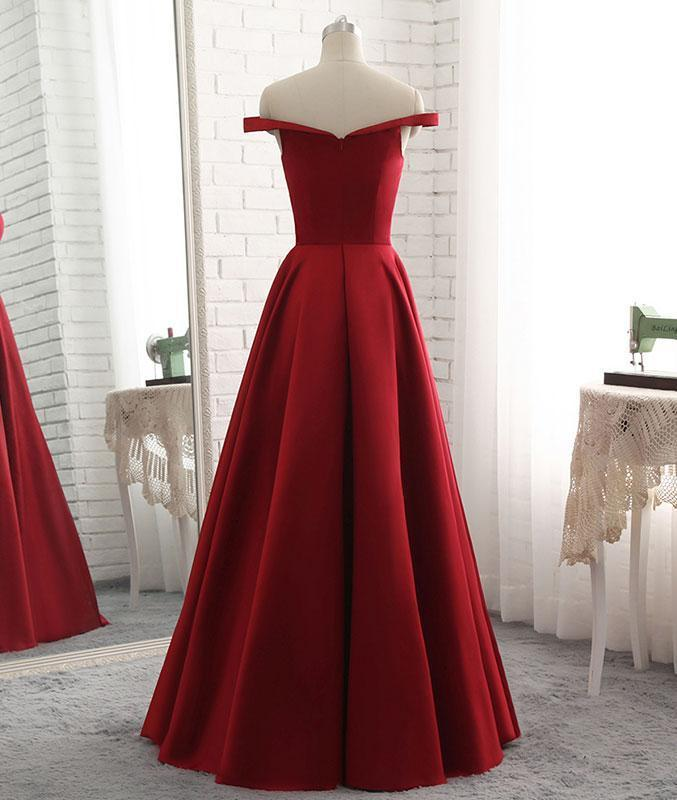 A-Line Off The Shoulder Long Prom Dress,Long Pleated Evening Dress,122722