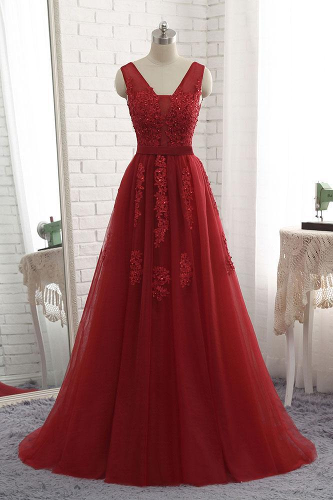 Red Applique A-Line Long Tulle Prom Dress,Red V-Neck Sleeveless Evening