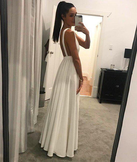 A Line V-Neck White Prom Dress,2017 Sleeveless Prom Dress,Simple Evening