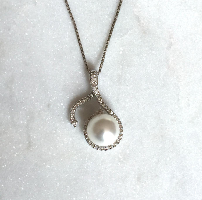 Silver and Cubic Zirconia Large Fancy Pearl Drop Pendant on Silver Box Chain