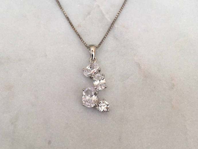 Jewel Cluster Pendant of Cubic Zirconias on Silver Box Chain Necklace, Silver