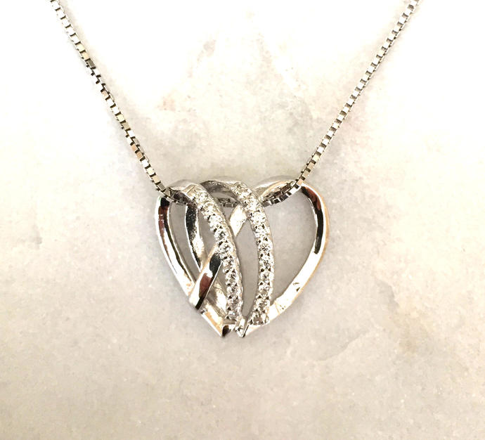 Silver Intertwining Hearts Pendant with Cubic Zirconia Detailing on Silver Box