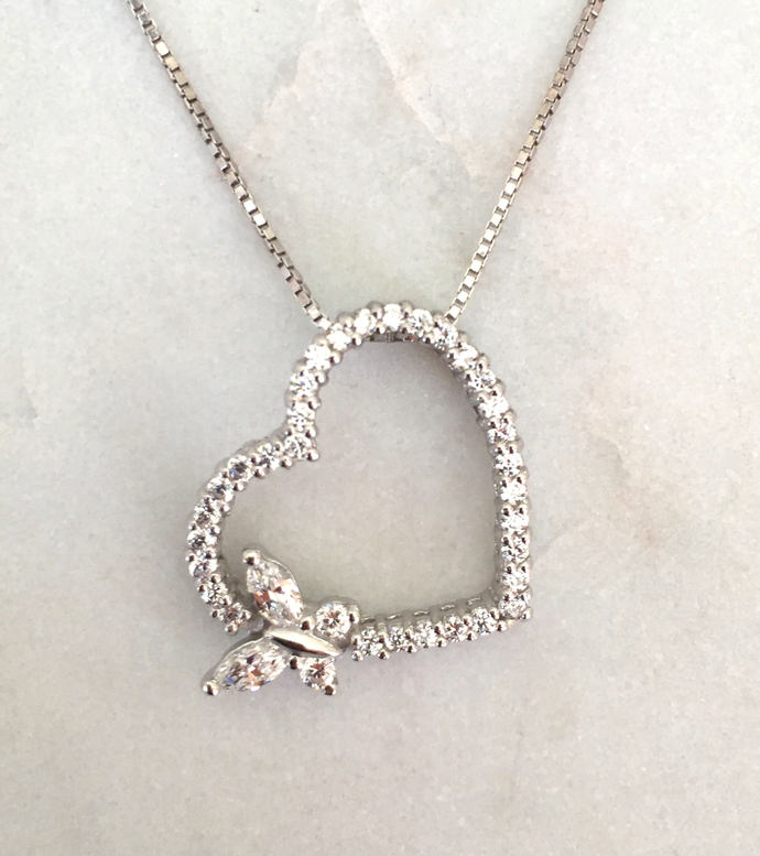 Silver Heart Pendant with Butterfly on Silver Box Chain Necklace, Silver Pendant