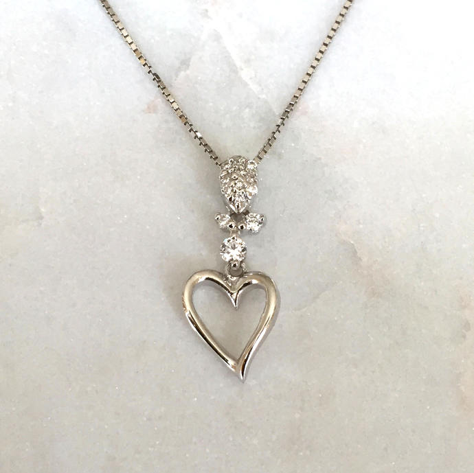 Silver Cubic Zirconia Heart Pendant with Silver Box Chain Necklace, Silver
