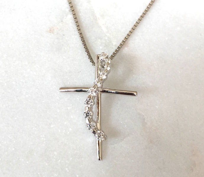 Silver Cross Cubic Zirconia Pendant on Silver Box Chain Necklace, Silver Pendant