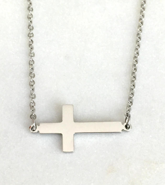 Silver Toned Cross Pendant on Silver Toned Necklace, Sideways Cross Necklace
