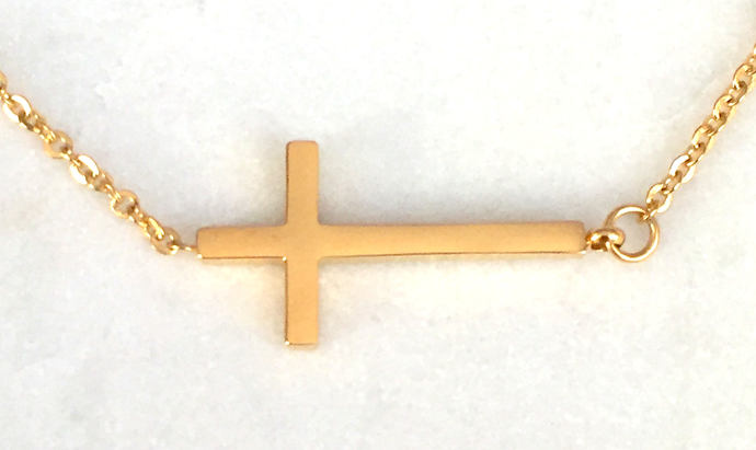 Gold Cross Pendant on Gold Necklace, Sideways Cross Necklace