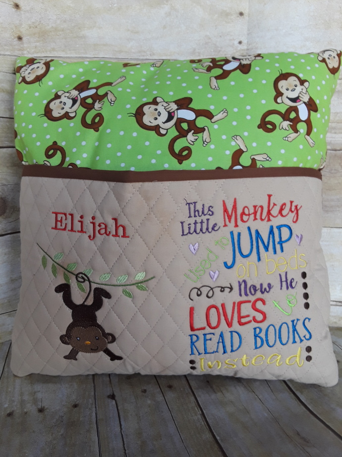 Reading Pillow, Book Pillow, Pocket Pillow, Reading Pillow for Boy, Gift for
